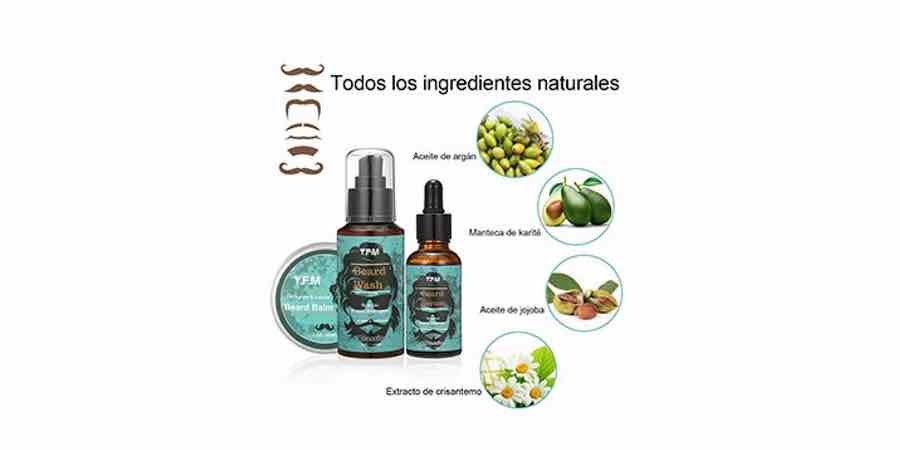 Ingredientes naturales del kit para barbas